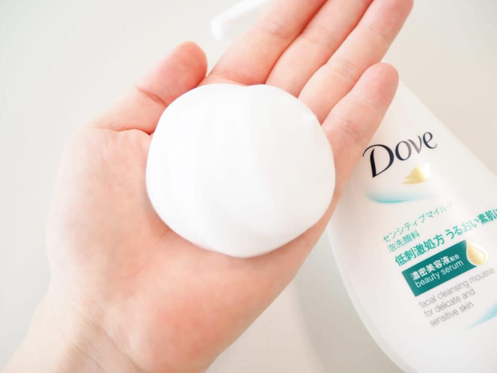 ダヴ独自の濃密美容液が配合されているので、ツッパリ感のないしっとりなめらかな洗い上がりです