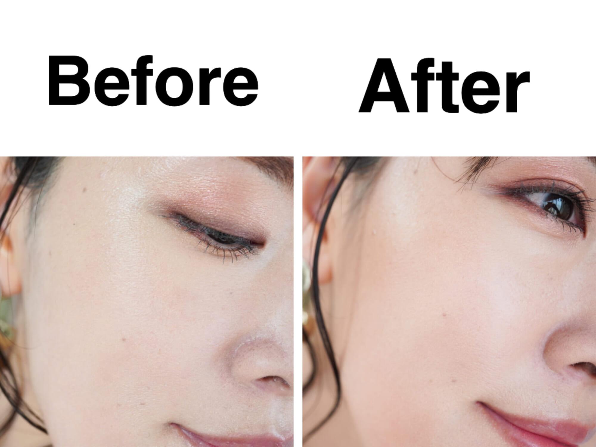 このように、シェーディングを入れるだけで顔の面積がぎゅっと狭くなったような印象に仕上がります。陰影の効果で小顔に見せることができます