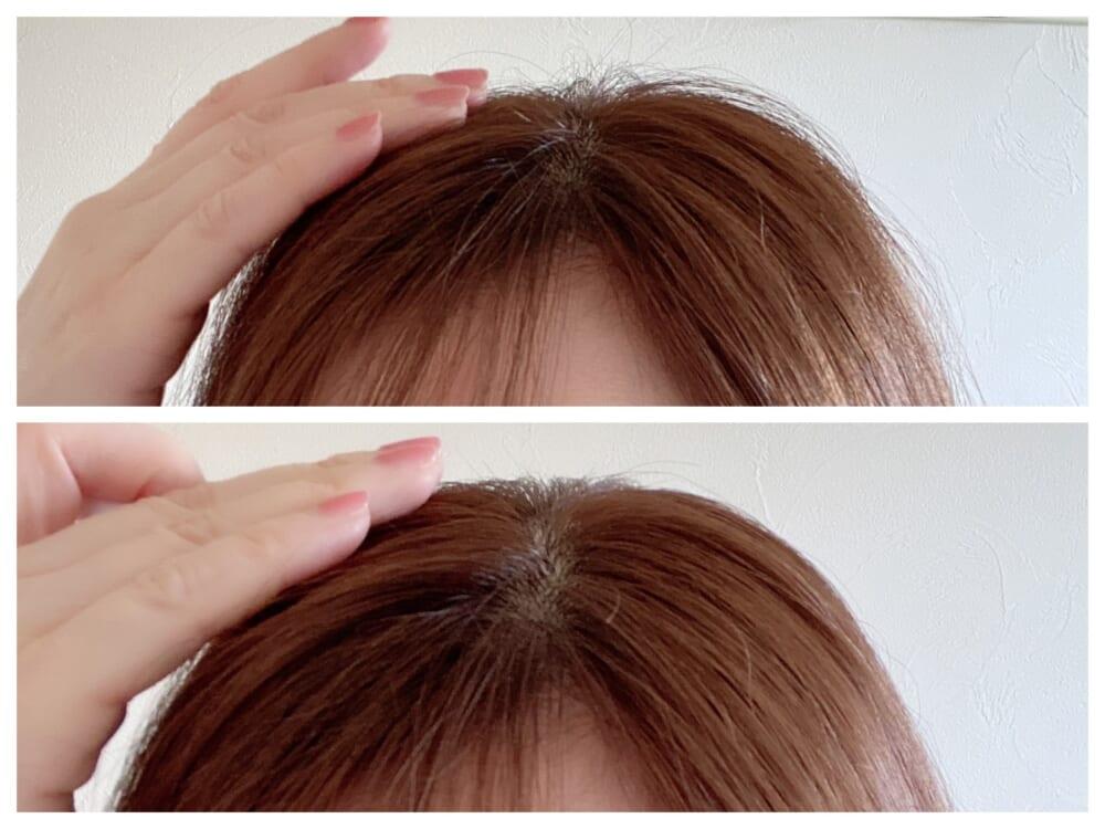 マスカラ状のブラシにスタイリングジェルがついているので、短く飛び出したうねり毛をさっとなでるだけです。スプレーで頭頂部の髪を固めるよりもナチュラルな仕上がりになります