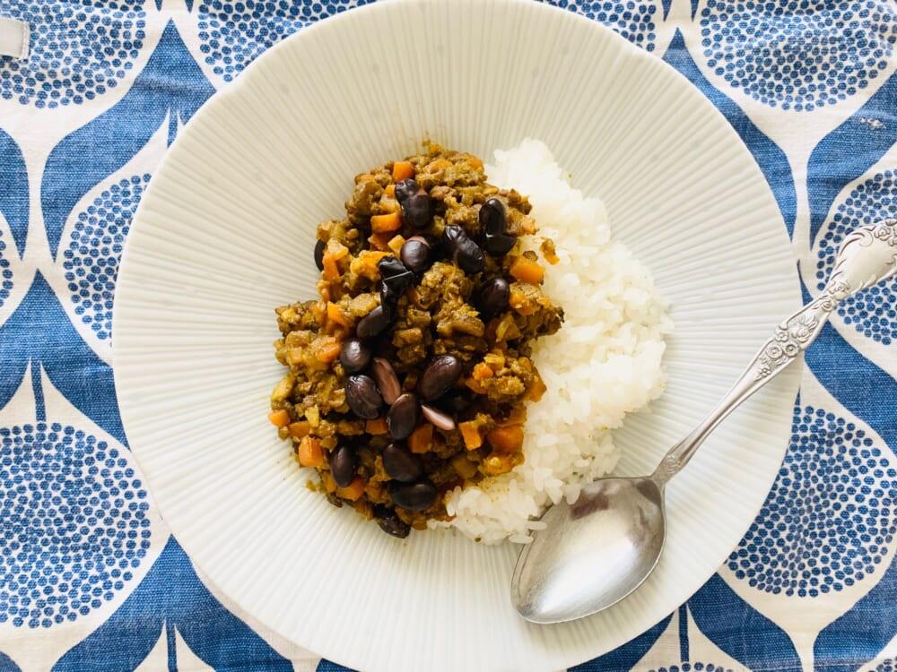 黒豆とごぼうのドライカレー