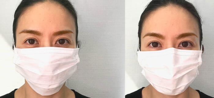 左図は直線的な眉、右図はアーチ型を意識して描いた眉です。マスクのつけ方と眉の描き方の相乗効果で、右図の方が全体的に温かみや立体感のある顔に仕上がります