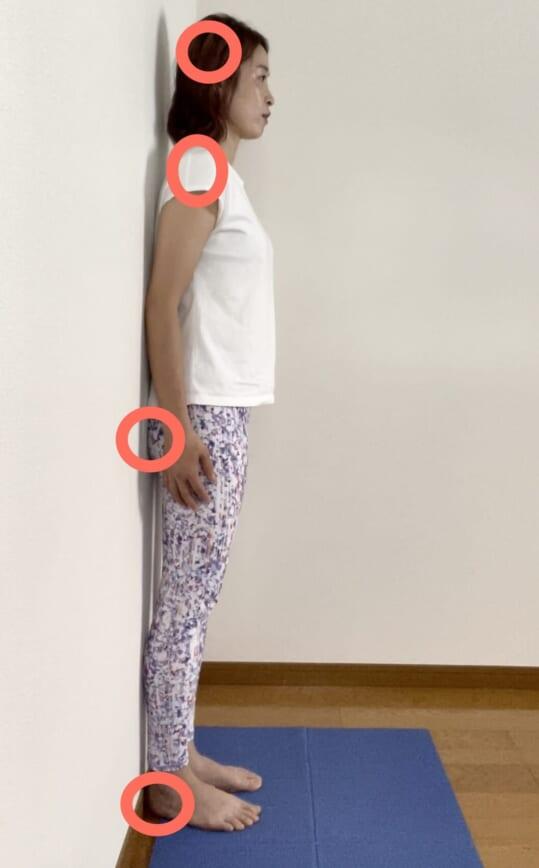 後頭部が壁につかない場合は首が肩より前に出ている「ストレートネック」の可能性が高く、シワを招きやすい姿勢です