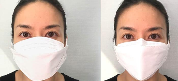 マスクを顔にフィットさせる
