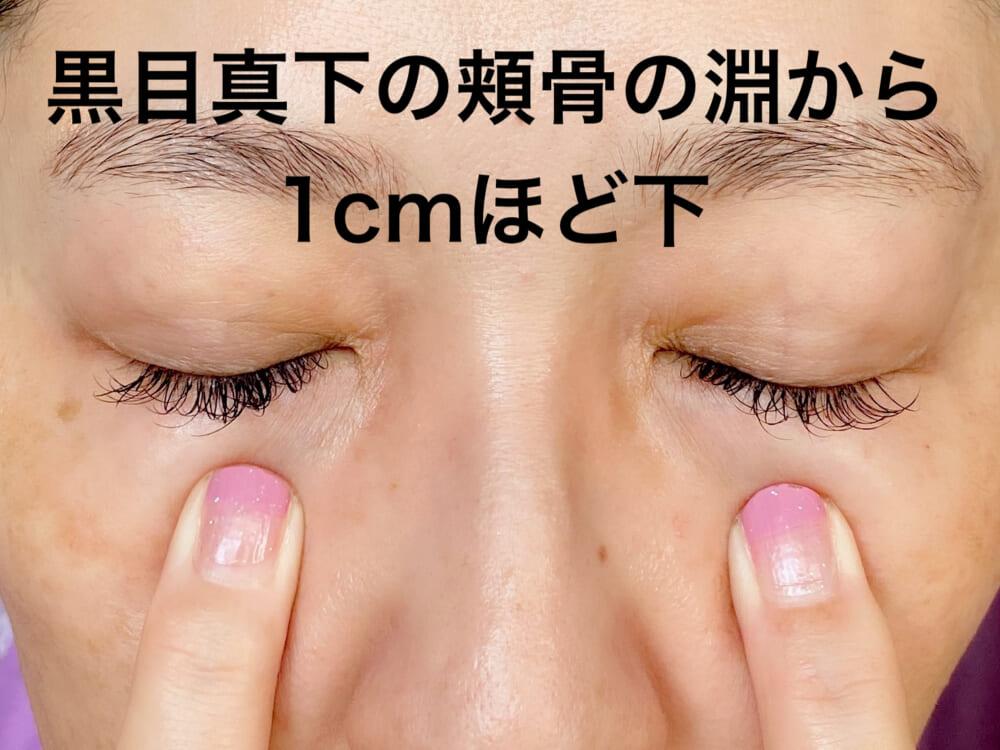四白(しはく):目を開いて黒目の中心から真下に向かい、頬骨のキワから1cmほど下にあります。少しだけ窪んでいるので、広めに中指を使って押してください