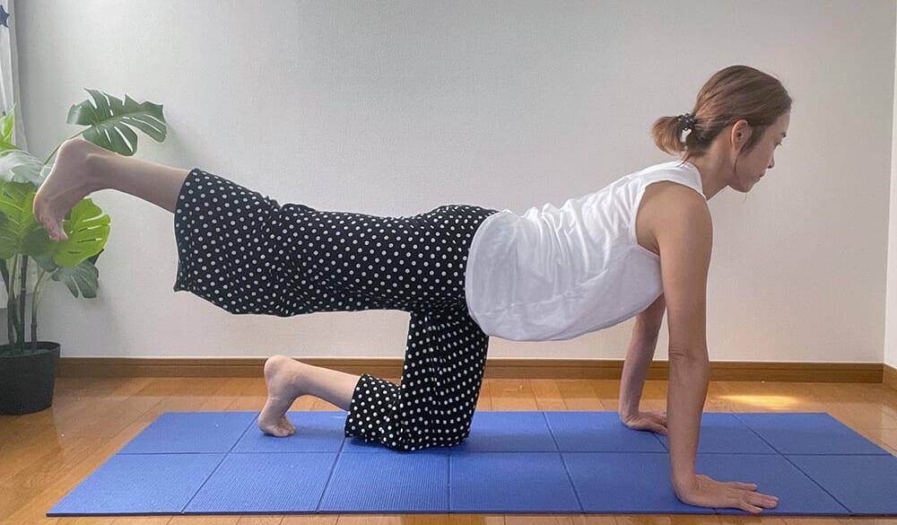 STEP2:片足を腰の高さに上げて、曲げたり伸ばしたりする