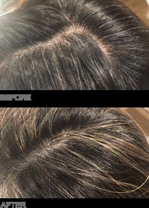 あえてチラホラ白髪は染めず、白髪周辺にハイライトを混ぜることで白髪そのものもハイライトの一部にしてぼかす