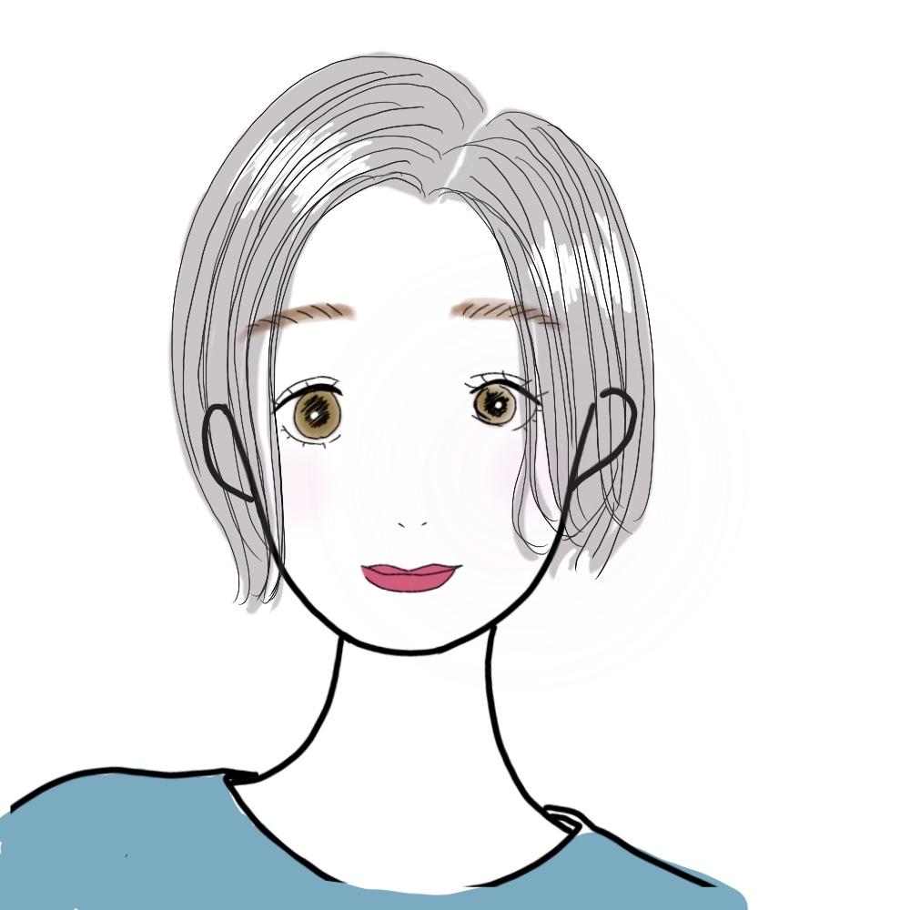 前髪をリップラインで作るヘアスタイルです