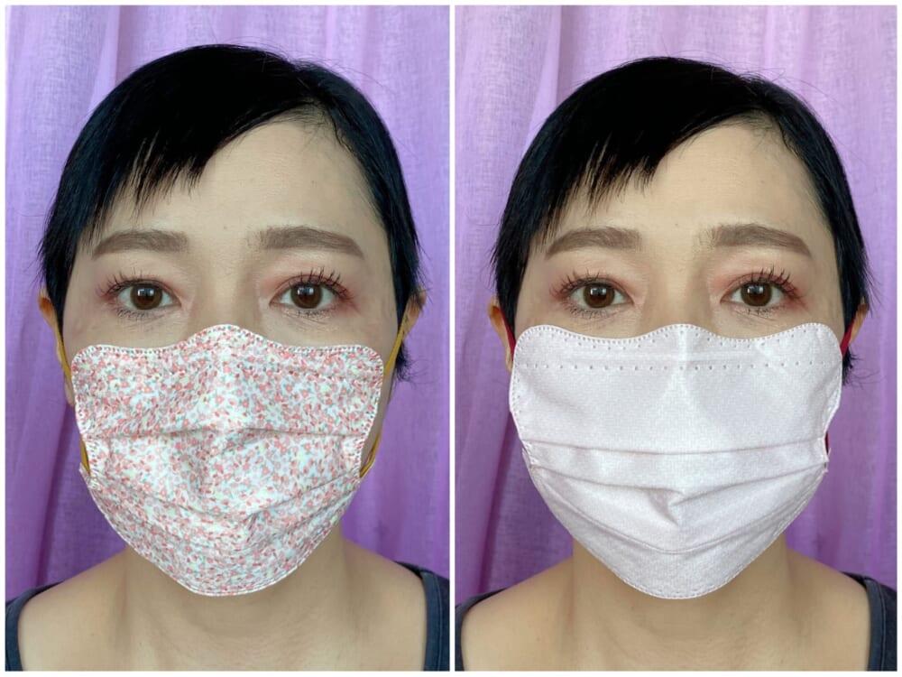 「ディーマスク」はフォルムやフェイスラインにちょっとしたラインが仕込んであり、耳下から顎にかけてをシャープに見せてくれます。「kf94タイプ」は顔がスッキリ見えるうえ、呼吸もしやすいのでおすすめです